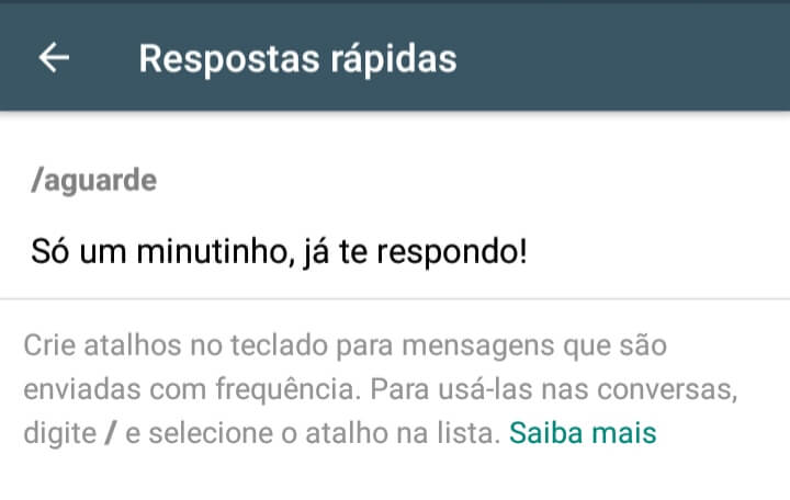 Print das respostas rápidas do WhatsApp Business
