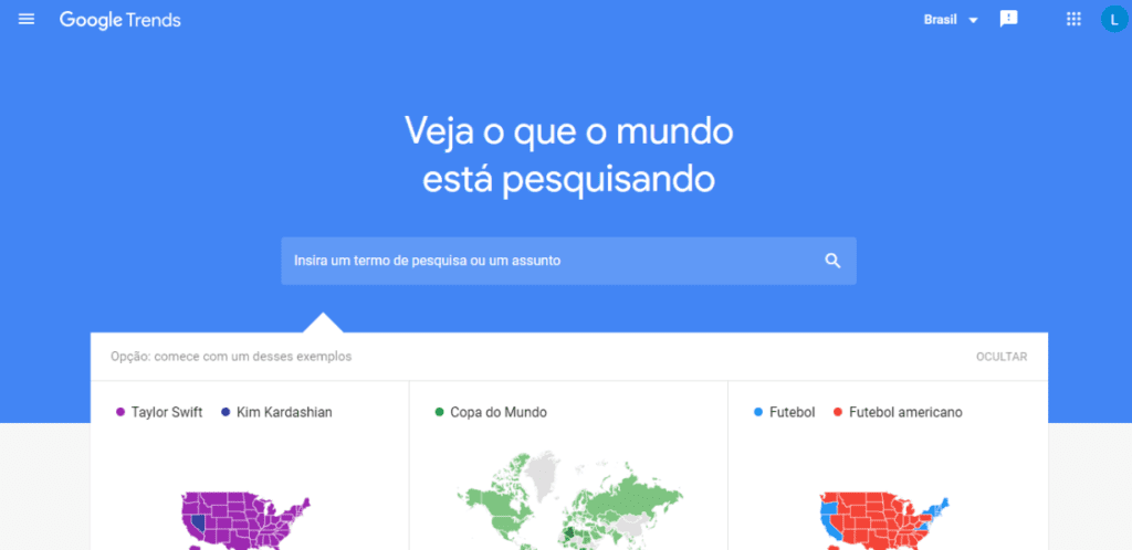 Print da página inicial do Google Trends