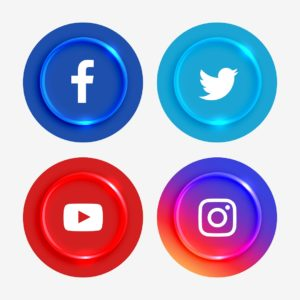 Imagem contendo logotipo do Twitter, Facebook, Instagram e Youtube